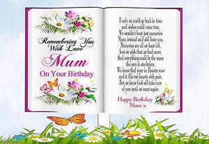 MUM BIRTHDAY BOOK SHAPED MEMORIAL BEREAVEMENT GRAVESIDE  CARD & FREE HOLDER 1