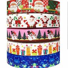 "GROSGRAIN RIBBON 1"" 5 YARD MIXED CHRISTMAS HOLIDAYS LOT 2  PRINTED USA SELLER"
