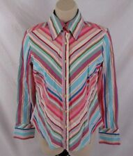 Tommy Hilfiger Womens Fitted Shirt Size Small Multi-Color Striped Button CB77U