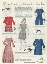 1947 Little Girl Goes Back 2 School New Clothes Paper Doll Tartan Party Print Ad