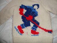 Hockey Hand Knit Zip Up Cardigan Sweater Child Wool Cream Cowichan Vintage