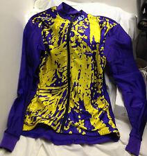 Louis Garneau Full Front Zippered Bike Jersey Purple Yellow Medium long Sleeves