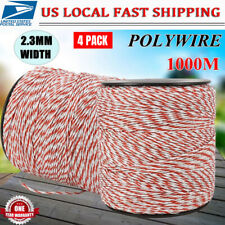 4x500m Roll Electric Fence Wire Rope Red White Polywire Steel Poly Rope Kit