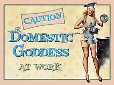 "Caution Domestic Goddess, Retro metal Sign/Plaque, Gift 10"" x 8"" Large"