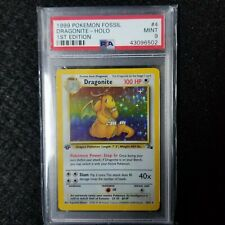 1ST EDITION PSA 9 MINT HOLO DRAGONITE 1999 POKEMON CARD FOSSIL SET 4/62 TCG WOTC