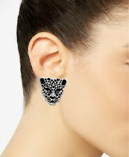 Solid 925 Silver With Shiny White CZ Black Crystal Jaguar Stud Fashion Earrings