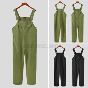 Fashion Men Dungarees Bib and Brace Overalls Decorators Trousers Pants Workwears