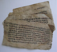 HINDU INDIA, RARE SANSKRIT SCRIPT MANUSCRIPT 4 LEAF 18TH CENT OF A 6TH CENT WORK