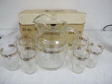 VINTAGE BEVERAGE SET   PITCHER GLASSESS BOX  GOLD WHITE HOMESTEAD FEDERAL GLASS