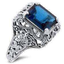 Silver Antique Design Ring Sz 5, #164 4 Ct Genuine London Blue Topaz .925