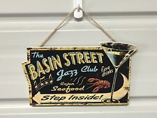 "Wood SIGN ""Basin Jazz"" Wood Plaque Decor Wall Art Club Store Shop Bar 6.5"" x 11"""