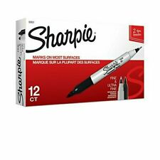 Sharpie 32001 Twin Tip Permanent Markers Fine And Ultra Fine Black 12 Count