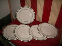 Vtg Buffalo China Lunch Plates Double Green Stripe Restaurant Ware Lot of Five