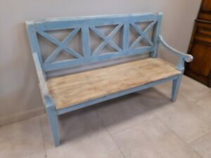 Charming Antique & Later Painted Pine Bench Settle