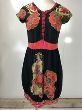 Desigual Womens Small Black Asian Short Sleeve Stretch Jersey Sheath Dress N