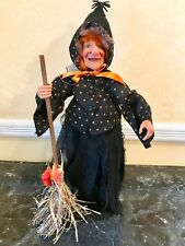 Halloween Witch Doll Standing Decor Broom Dress Pumpkin Bow Ribbon Boots Spider