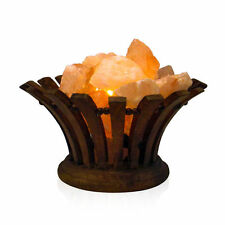 Himalayan Salt Lamp Pink Crystal Ionizer Flower Wood Basket Salt +bulb & UK plug