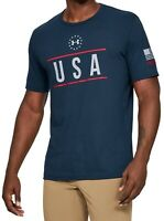Under Armour Mens T-Shrt Blue Red Gray Size Large L USA Logo Graphic Tee $25 018