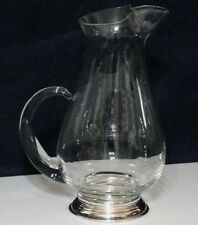 "SHABBY VINTAGE 9"" COCKTAIL PITCHER GLASS WEB STERLING SILVER CHIC COTTAGE DECOR"