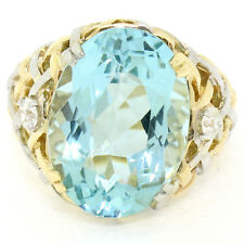 14k Gold & Platinum 19.49ctw Large GIA Aquamarine & Diamond Basket Weave Ring