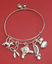 "Silver ""Pet Groomer"" themed Charm Bracelet (dog, cat, animal)"