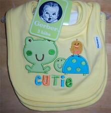 New Gerber 3PK Dribbler Bibs, Frog, Turtle, Baby Shower, Diaper Cake *