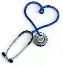 IRON ON PATCH/APPLIQUE - Embroidered Blue Stethoscope - CRAFT PROJECTS