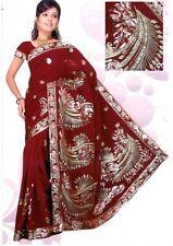 Maroon Bollywood Sequin Saree Sari Bellydance Fabric ROBE KAFTAN Ventre Danse C