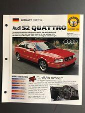 """1991 - 1996 Audi S2 Coupe Quattro """" Hot Auto """" Spezial Blatt Ordner Katalog"""