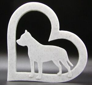 Staffordshire Bull Terrier Dog In Heart Ornament 15x15x1.5cm - Various Colours