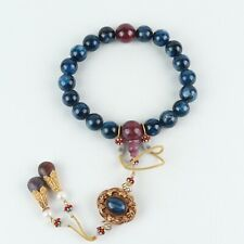 Antique Chinese Collection Natural Blue Kyanite Eighteen Beads Bracelets