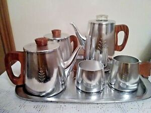 Vintage Sona Coffee Percolator, Tea Pot, Hot Water Jug, Sugar Milk Jug Tray Set