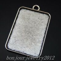 50257 Vintage Silver Alloy Rectangle Base Setting Tray Pendant Charms Crafts 16x
