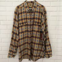 The Foundry Men's Button Up Flannel Aztec Plaid Long Sleeve Shirt Size 2XLT Tall