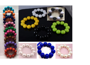 LARGE 20mm FAUX PEARL OR ACRYLIC SOLID BEAD BALLS  STRETCH  BRACELET