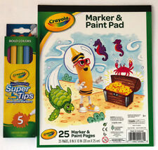 "New Crayola Marker & Paint Pad 8"" x 10"" 25 sheets + Super Tips Washable Markers"