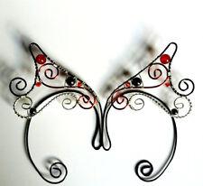 Elegant Handmade Black Red & Silver Plated Hematite Fantasy Ear Cuffs, Elven.