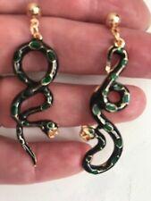 Unique long drop Zara style dark green PEARL  black enamel gold snake earrings ☘