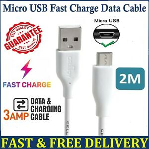 2M Micro USB Cable Long High Speed Data Sync Fast Charger Android Charging Lead