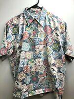 Reyn Spooner Hawaiian Pullover Shirt Reverse Quilts Pattern Large EUC