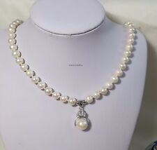 Genuine Silver7-8mm+10mm near round freshwater pearl pendant necklace L45cm+4cm