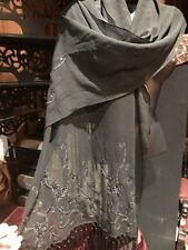 Vintage Style Sheer Silk Chiffon Beaded Scarf Wrap Shawl