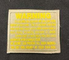 Full Size Football Helmet Warning Label Decal Yellow Gold Steelers Redskins