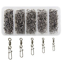 160Pcs/box Fishing Barrel Rolling Swivel with Nice Snap Tackle Connector 1#-8#