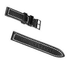 KHS Tactical Watch Büffelleder Armband Lederarmband weiße Naht Schwarz PVD 22mm