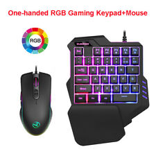 Single Hand Gaming Keyboard RGB Backlight Keypad + Mouse Combo for WinXP Windows