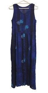 *NWOT* Ladies Size 14 Navy Blue Turquoise Button-Up Sleeveless Maxi Sun Dress