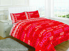 Keep Calm Red Duvet Quilt Cover Bed Set With Pillow Cases Single Sized Bedding