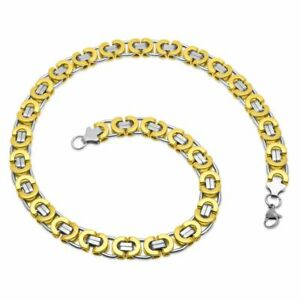 Flat King's Chain Necklace Curb Men's Stainless Steel Silver Bracelet