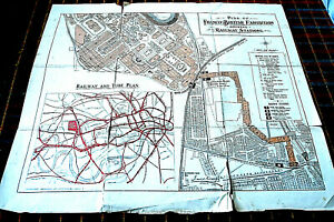PLAN OF FRANCO-BRITISH EXHIBITION WHITE CITY 1908 SHEWING RAILWAY STATIONS. RARE